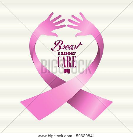 Breast Cancer Awareness Ribbon Text Human Hands Composition Eps10 File.