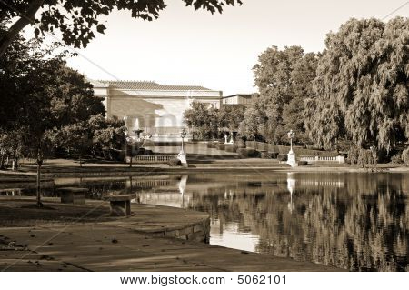 Museum And Lagoon, Vintage Look