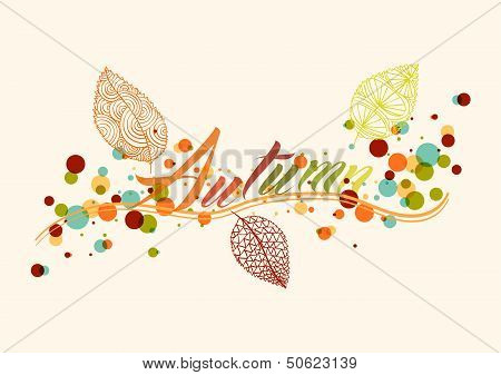 Fall Season Leaf And Bubbles Composition Background Eps10 File.