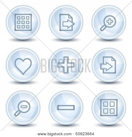 Image viewer web icons set 1, light blue glossy circle buttons