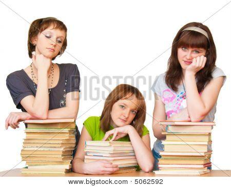 Sad Girlrs With Many Books