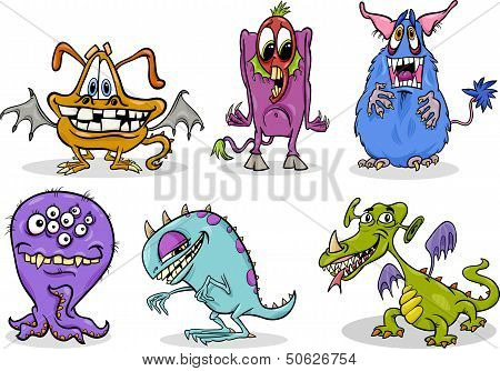 Cartoon Monsters Illustration Set