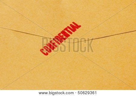 Confidential Text On The Brown Envelope