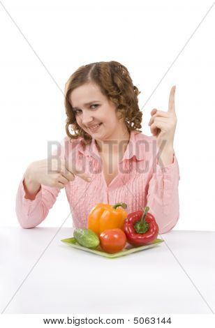 Pretty Girl With Fresh Vegetables.