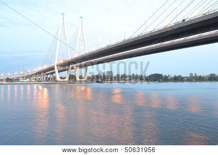 Cable Stayed Bridge At Evening