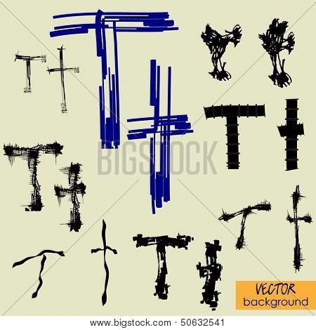 art sketch set of vector character fonts symbols, sign T
