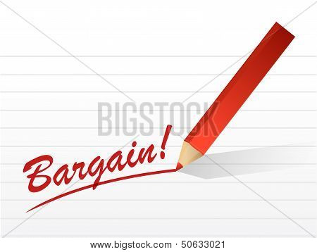Bargain Written On A White Piece Of Notebook