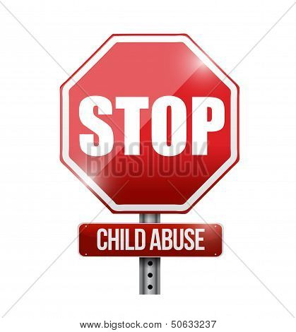 Stop Child Abuse Road Sign Illustration Design