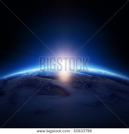 Earth sunrise over cloudy ocean with no stars -  Elements of this image furnished by NASA