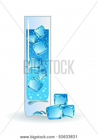 Water in glass with ice.