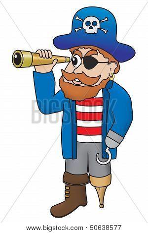 Cartoon Illustration Of Pirate Looking Through A Spyglass