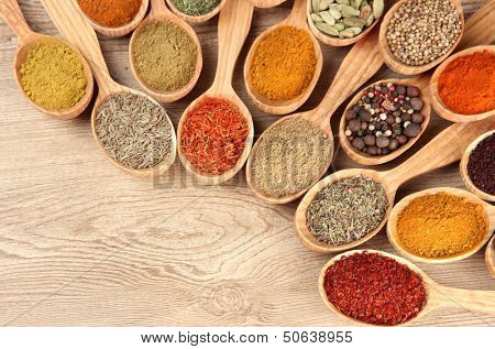 Assortment of spices in wooden spoons on wooden background