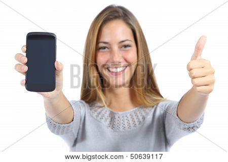 Beautiful Woman Showing A Smartphone With Thumb Up