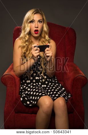 Girl Texting In Amazement