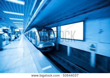 Subway Station And Blank Billboard