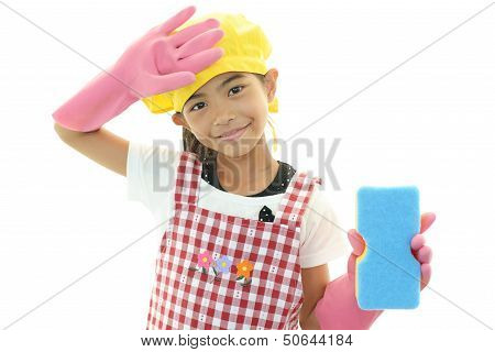 The girl who enjoy helping with housework