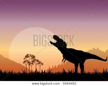 Escena de dinosaurio prehistórico Tyrannosaurus
