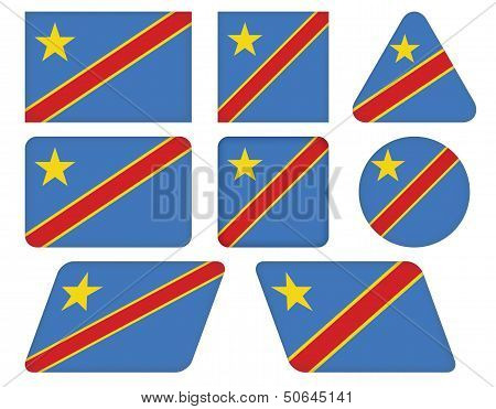 Buttons With Flag Of DR Congo