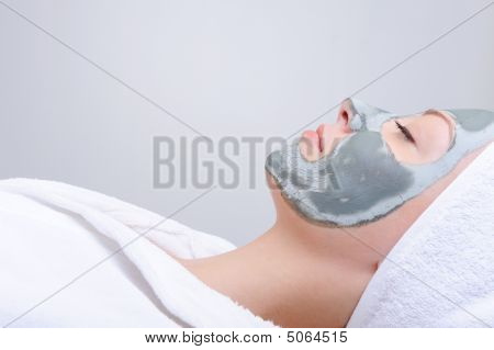 Relaxation - Woman With Mask Of Clay