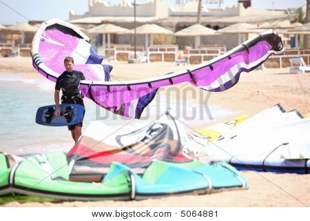 Kiteboarder With Kite