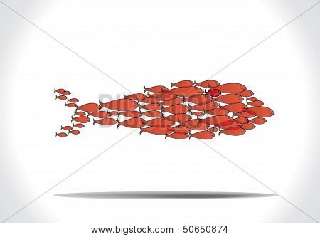 Concept Design Vector Illustration Art Of Group Of Beautiful Red Fishes Team Work To Organise Themse
