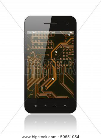Smart phone with circuit background