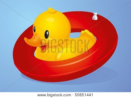 Duck with red inflatable circle