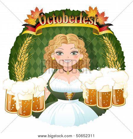 Bavarian Girl Serving Beer -  October Fest