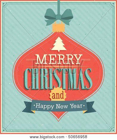 Merry Christmas Typographic Design.