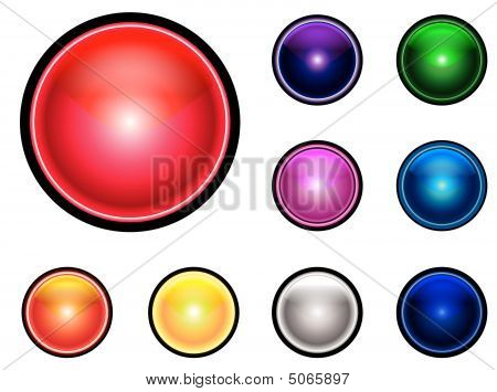 Colllection of colorfull GUI buttons  in different sizes