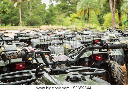 Sports Quad Bike Or Atv Arranged In Row