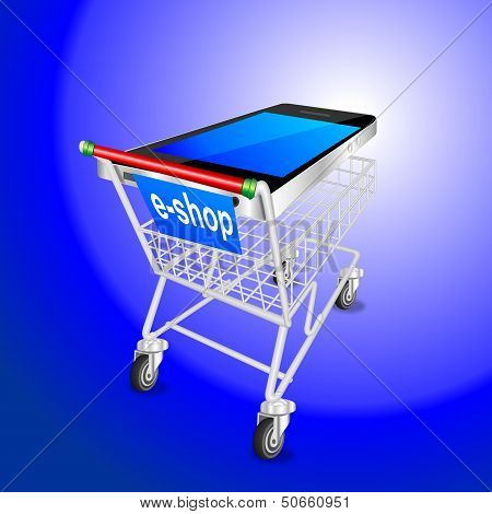 SMART PHONE mobile shopping cart BLUE