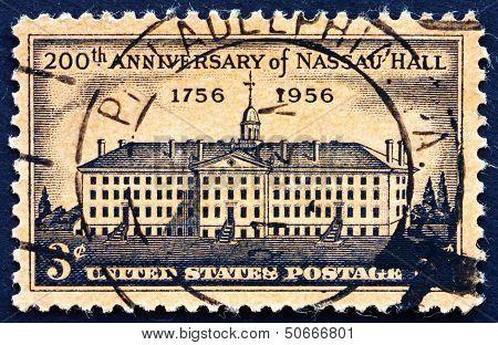 Postage Stamp Usa 1956 Nassau Hall, Princeton, New York