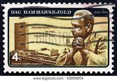 Postage Stamp Usa 1962 Dag Hammarskjold And Un Headquarters