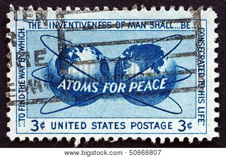Postage Stamp Usa 1955 Atoms For Peace Policy