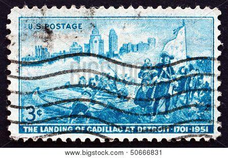 Postage Stamp Usa 1951 Detroit Skyline And Cadillac Landing
