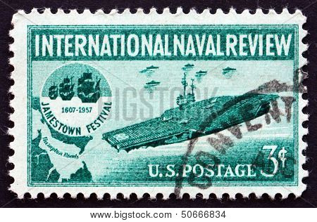 Postage Stamp Usa 1957 Aircraft Carrier And Jamestown Festival