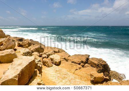 Rocky Rugged Limestone Atlantic Coastline At Half Moon Bay