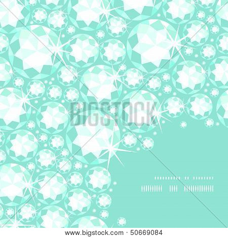 Shiny diamonds corner frame seamless pattern background