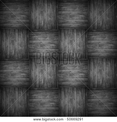 Chequered Pattern Wooden Black Background