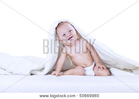 Adorable Baby Inside Blanket - Isolated