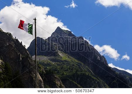 Italian Flag On Moutains