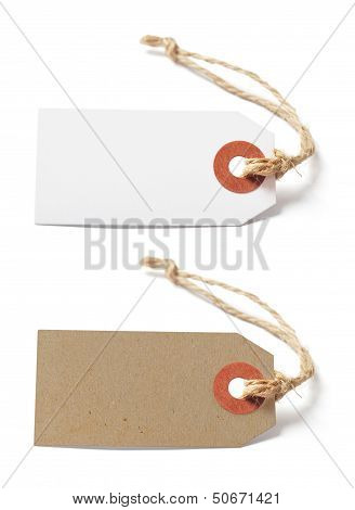 White And Brown Blank Tags