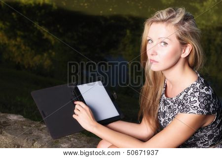 Girl With Tablet Computer Ebook Reader Touchpad Pc