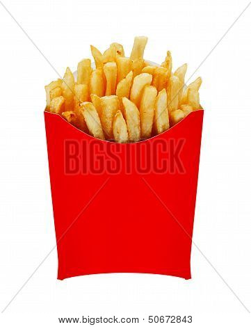 Medium Fries In Box Isolated On White