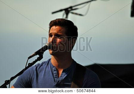 June 14th 2013, New artist Justin Adams performs in Waterloo, IA