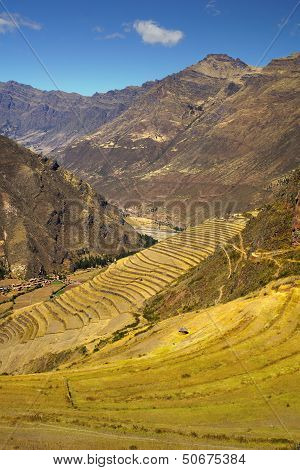Agricultural terraces at Pisac ruins, Cuzco, Peru