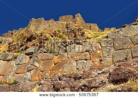 Stoen wall at Pisac ruins, Cuzco, Peru