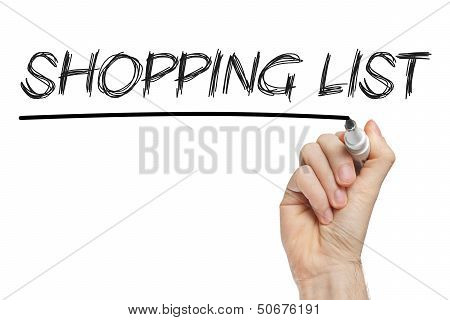 Shopping List Written On Whiteboard