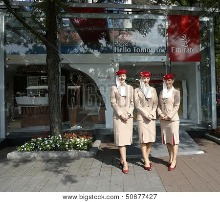 Emirates Airlines Flight Attendants At He Emirates Airlines Booth At The Us Open 2013